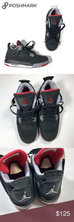 Air Jordan 4 Retro GS Black Cement Grey Fire Red Air Jordan 4 Retro gs Sz 5  Youth Black Cement Grey Fire Red Sneakers ARJORD5-102918-X Has some minor  wear d31a5b213