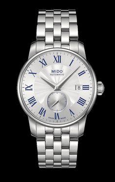 Mido Men's Baroncelli II White dial with blue script style #: M8608.4.21.1 http://www.midowatch.com/en/content/m86084211