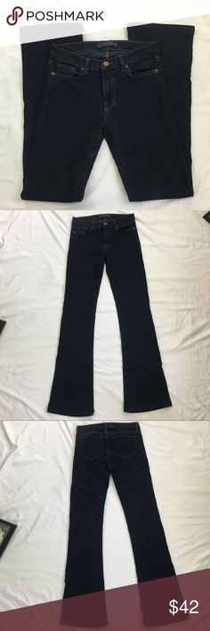 J Brand Janey Dark Wash Jeans Size 27 J Brand dark blue Janey jeans. Excellent condition. Size 27. 65% cotton/33% tensel/2% elastane. Please see pictures for all measurements. J Brand Jeans Boot Cut