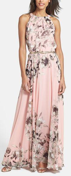 Blush floral print maxi by Eliza J http://rstyle.me/n/v48nen2bn