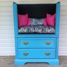 Repurposed old dresser to porch seat.