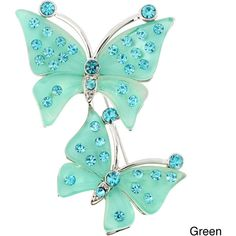 Base Metal Crystal Couple Butterfly Pin Brooch ($16) ❤ liked on Polyvore featuring jewelry, brooches, butterflies, green, pin jewelry, polish jewelry, swarovski crystal brooch, metal jewelry and sparkle jewelry