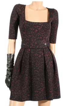 Knitted Bicolor Dress - Black/Bordeaux  $640