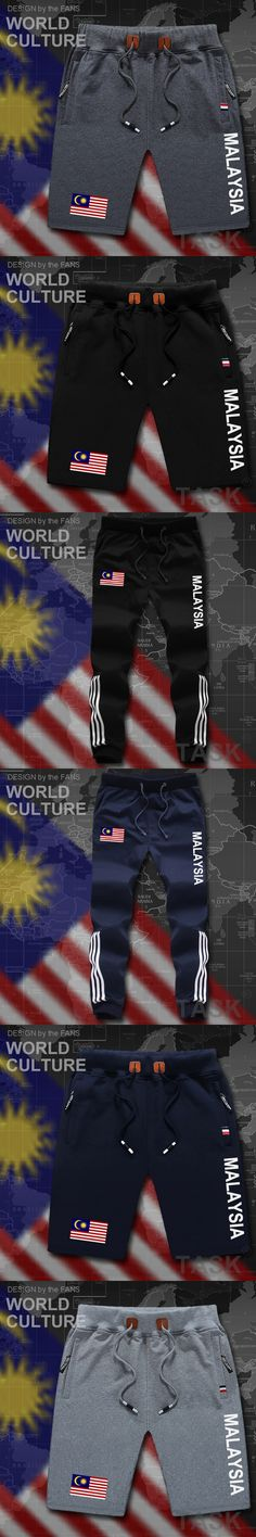 Malaysia mens shorts beach new men's board shorts flag workout zipper pocket clothing bodybuilding 2017 cotton brand Malay MY