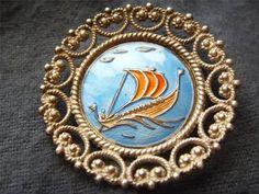 Einar Modahl Vintage Norway 830s Silver Enamel SHIP Brooch   eBay