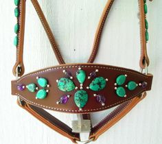 Turquoise and amethyst bronc halter
