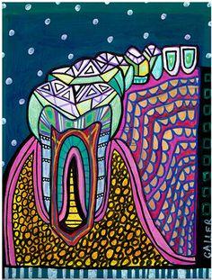 Teeth Original Painting Dental Art by Heather by HeatherGallerArt, $250.00