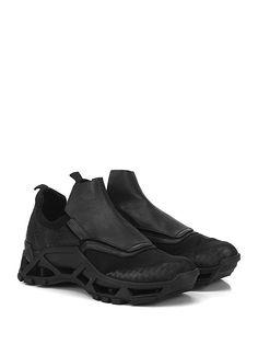 CINZIA ARAIA - Sneakers - Uomo - Sneaker in pelle effetto rettile, pelle e tessuto con suola in gomma. Tacco 60, platform 30 con battuta 30. - BLACK - € 575.00