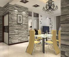 papier peint trompe l'oeil pour le coin repas chaises jaunes et table à manger en verre