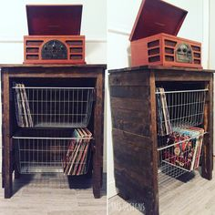 Look at this beautiful way to store your vinyls! The baskets slide out for easy access to your collection. Set your record player on top, and you have a one stop shop to all of your greatest music. #furniturecollection