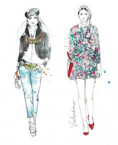 Sarah Hankinson - The Illustration Room Fashion Illustration Sketches, Fashion Sketches, Illustration Styles, Design Illustrations, All Fashion, Fashion Art, Fashion Design, Outfits 2016, College Fashion