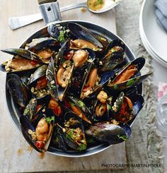 Seafood is in season for October. These mussels with chorizo, almonds and parsley look delicious. Fish Recipes, Seafood Recipes, Cooking Recipes, Healthy Recipes, Uk Recipes, Fish Dishes, Seafood Dishes, Fish And Seafood, Food For Thought