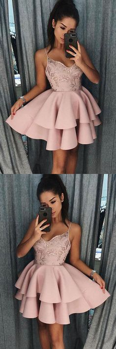 Cute Spaghetti Straps Pink Tiered A Line Short Homecoming Dresses OKB16 #straps #aline #tiered #cute #short #homecoming #okdresses