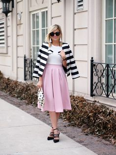 pink midi skirt with black and white