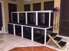 (IKEA kitchen tables converted to canine condo) for foster dog crate training Dog Grooming Shop, Dog Grooming Salons, Dog Grooming Business, Pet Shop, Animal Room, Pet Boarding, Dog Boarding Kennels, Pet Hotel, Dog Salon