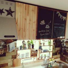 hiromi0302さんの、黒板風,壁紙シート,植物,キッチンの小窓,ホーローキャニスター,キッチン,のお部屋写真