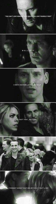 """I forgot what hating myself felt like."" It makes me feel sad. I miss Nine, the Doctor with Depression."