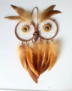 Owl Dream Catcher // Wall Decor // Feathers // Handmade // Home // Art // Dreams // Arrow Head // Beads // Beaded // Dreamcatcher