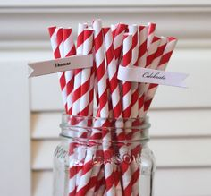 50 Red Paper Straws Striped Retro Vintage Style Carnival Circus Wedding Birthday Bridal Baby Shower W/ Printable Flags I Created BRIGHT RED. $7.79, via Etsy.