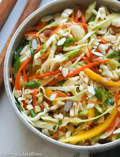 Caribbean Cole Slaw (I made this without the nuts or garlic,and used champagne vinegar instead of red wine vinegar - it was still delicous! Carribean Food, Caribbean Recipes, Caribbean Coleslaw Recipe, Jamaican Dishes, Jamaican Recipes, Jamaican Appetizers, Jamaican Cuisine, Vegetarian Recipes, Cooking Recipes