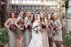 Luxe Metallic Bridesmaids with Burgundy Bouquets | Matt Julie Photography | See More! http://heyweddinglady.com/bridal-styling-secrets-from-my-favorite-fashion-blogs/