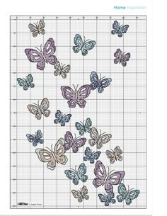"Butterfly Cushion Chart • Picture of Cushion is pinned in ""Cushions, Pillows and Sachets"""