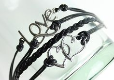 Black Infinity Love Braided Leather Bracelet by pajewelry on Etsy, $4.00