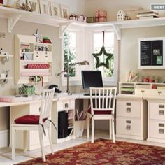 Craft Room - yes, my (and I think every woman's) dream office/craft space....maybe not so white though