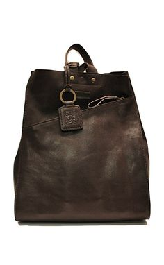 Delia Leather Backpack: Chocolate