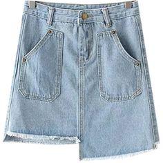Chicnova Fashion Asymmetric Denim Mini Skirt ($16) ❤ liked on Polyvore featuring skirts, mini skirts, asymmetrical skirts, mini skirt, denim miniskirt, high waisted skirts and high waisted mini skirt