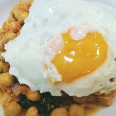 Spinach and Kale with Chickpeas and Fried Eggs