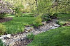 A dry creek bed is one of the ways the Missouri Botanical Gardens manages water