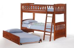 Cinnamon Twin Twin Bunk Bed w Twin Trundle Bed by Night and Day Night and Day Cinnamon Bunk Bed is a solid wood twin over twin bunk bed furniture with one kids twin bed for the high sleeper bunk and another twin bed for the bottom sleeper bunk. You need a twin bunk mattress only for each bunk. Box spring is not required. https://www.xiorex.com/night-and-day-cinnamon-bunk-bed-twin-twin-bunk-bed-set-xiorex-bunkbeds