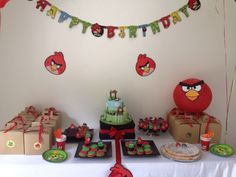 Angry Birds Candy Table Bird Party, Candy Table, Angry Birds, Birthday Party Themes, Holiday Decor, Kids, Young Children, Candy Stations, Boys