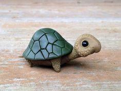 Turtle: Handmade miniature polymer clay animal figure