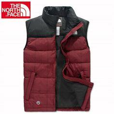 North Face Brighten Color Men's D-Red Vest Dark Red