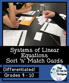 This great card set has students match written situations to the linear equations and the graph. Three versions of the answer sheet are included. Perfect for individual, group, or station-based activities! Math Activities, Teaching Resources, Linear System, Ontario Curriculum, Math Courses, Secondary Math, Recording Sheets, Student Work, Students