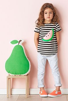 A fun, cotton jersey basic featuring yarn dyed stripes and a bold watermelon graphic | Country Road Child, Spring 2014