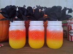 Candy Corn Mason Jars~Christle's Creations~