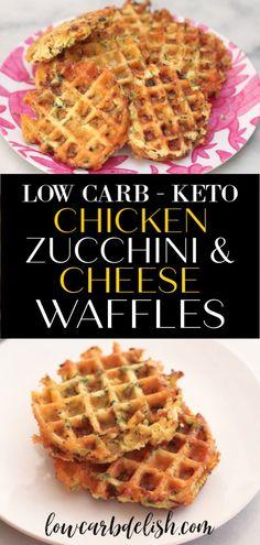 Savory Keto Chicken Zucchini and Cheese Waffles Low Carb Delish Düşük karbonhidrat yemekleri Cheese Waffles, Low Carb Waffles, Savory Waffles, Zucchini Waffles, Healthy Waffles, Ketogenic Recipes, Keto Recipes, Zuchinni Recipes, Zoodle Recipes