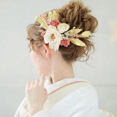 Bridal Hair Flowers, Yukata, Summer Nails, Kimono, Hair Accessories, Hairstyle, Instagram, Bright, Wedding