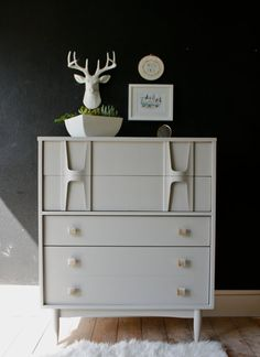 painted mid century modern tallboy + gray tallboy + modern tallboy + painted furniture