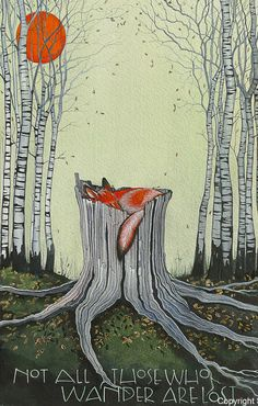Not all those who wander are lost - Tolkein Watercolour on watercolour paper - painting beginners Fuchs Illustration, Forest Illustration, Sam Cannon, Fantasy Character, Fox Art, Watercolor Paper, Art Inspo, Amazing Art, Fantasy Art