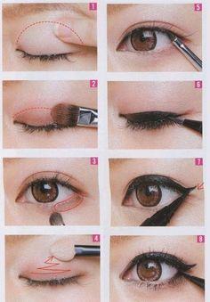 applying eye makeup for asian eyes I like this make up look Best Makeup Tips, Makeup 101, Cute Makeup, Gorgeous Makeup, Best Makeup Products, Makeup Brushes, Dead Gorgeous, Makeup Ideas, Makeup Contouring