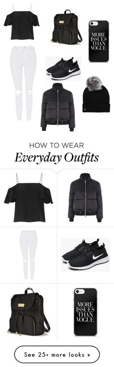"""""""Black and white autumn outfit"""" by ellie-taylor-1203 on Polyvore featuring Topshop, Fendi, NIKE, Victoria's Secret and UGG"""