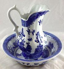 Blue Willow Porcelain Bowl & Pitcher Set E & C Challinor Fenton Ironstone China