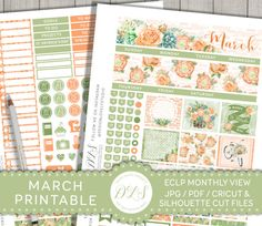 Erin Condren March Planner Stickers, March Monthly Kit, St. Patrick's Day Planner, Spring Planner, Printable Stickers, Cut File, MV121