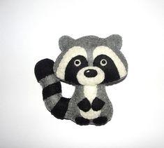 Wool Felt Raccoon Ornament, Baby Shower Gifts, Kidsroom Decor, Nursery Decor, Wall Decor, Birthday Gift, Party Favors, Baby Mobile Decor