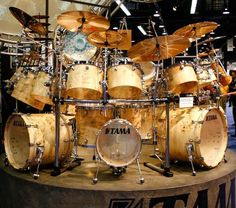 Tama drums sets Monster Mapa Burl Starclassic Maple 31 piece drum kit with Rack