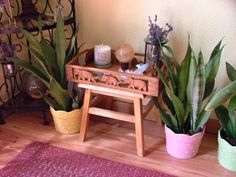 This meditation altar was built from a simple footstool and decorative wooden tray to make it portable.